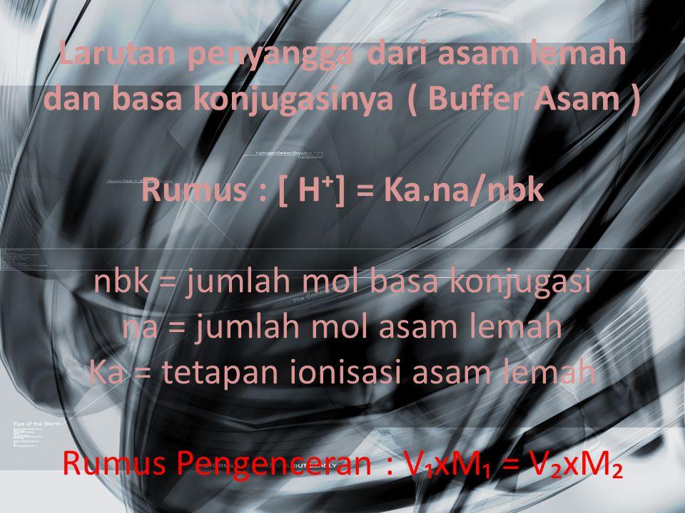Larutan penyangga dari asam lemah dan basa konjugasinya ( Buffer Asam ) Rumus : [ H⁺] = Ka.na/nbk nbk = jumlah mol basa konjugasi na = jumlah mol asam lemah Ka = tetapan ionisasi asam lemah Rumus Pengenceran : V₁xM₁ = V₂xM₂