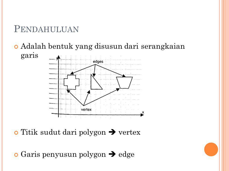 P ENDAHULUAN Properti dasar polygon Jumlah vertex Koordinat vertex Data lokasi tiap vertex Polygon digambar dengan menggambar masing- masing edge dengan setiap edge merupakan pasangan dari vertex i – vertex i+1, kecuali untuk edge terakhir merupakan pasangan vertex n – vertex 1