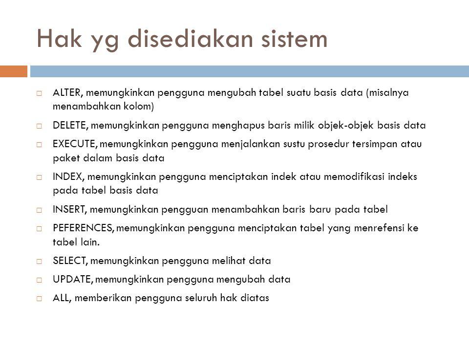 Hak yg disediakan sistem  ALTER, memungkinkan pengguna mengubah tabel suatu basis data (misalnya menambahkan kolom)  DELETE, memungkinkan pengguna m