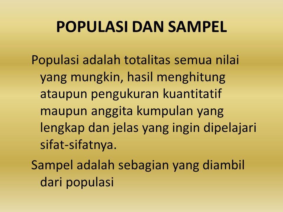 POPULASI DAN SAMPEL Populasi adalah totalitas semua nilai yang mungkin, hasil menghitung ataupun pengukuran kuantitatif maupun anggita kumpulan yang l