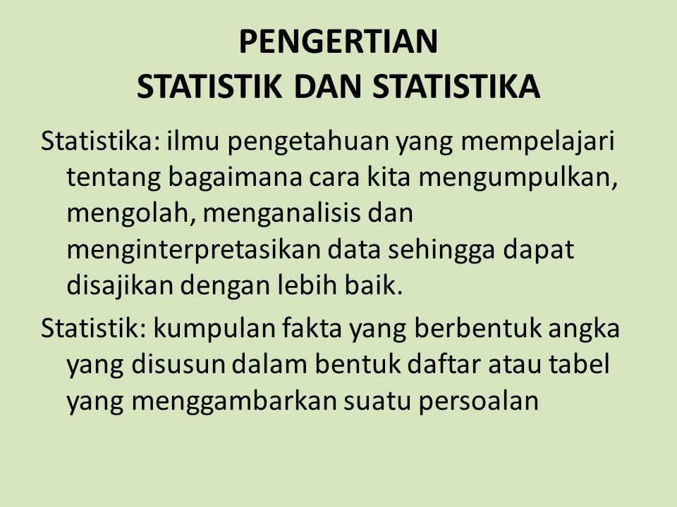 PENGERTIAN STATISTIK DAN STATISTIKA Statistika: ilmu pengetahuan yang mempelajari tentang bagaimana cara kita mengumpulkan, mengolah, menganalisis dan