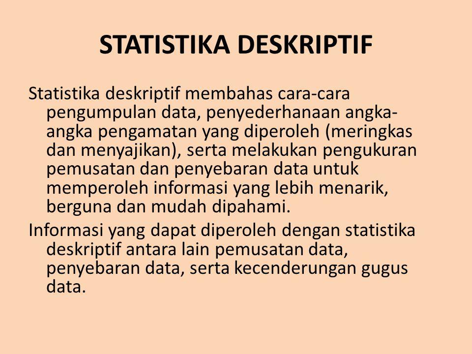 STATISTIKA INFERENSIAL Statistika inferensial membahas mengenai cara menganalisis data serta mengambil kesimpulan (berkaitan dengan estimasi parameter dan pengujian hipotesis) Metode statistika inferensial berkaitan dengan analisis sebagian data sampai ke peramalan atau penarikan kesimpulan mengenai keseluruhan data Disebut juga statistika induktif karena kesimpulan yang ditarik didasarkan pada sebagian data saja (sampel)