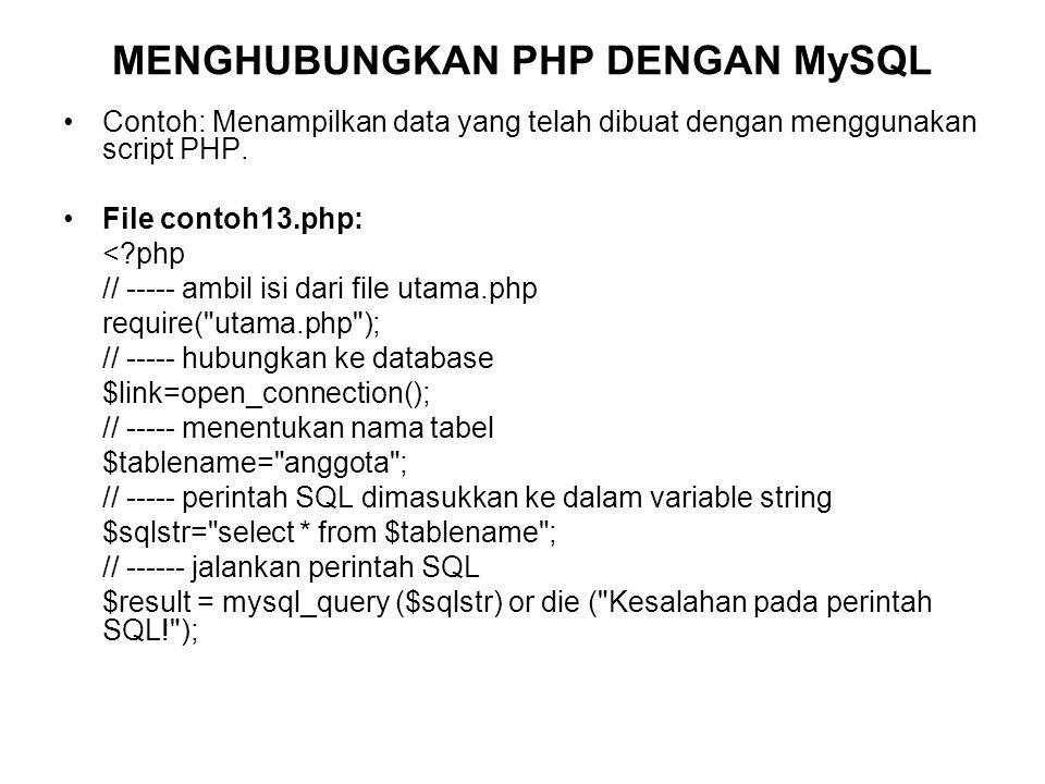 Contoh: Menampilkan data yang telah dibuat dengan menggunakan script PHP.
