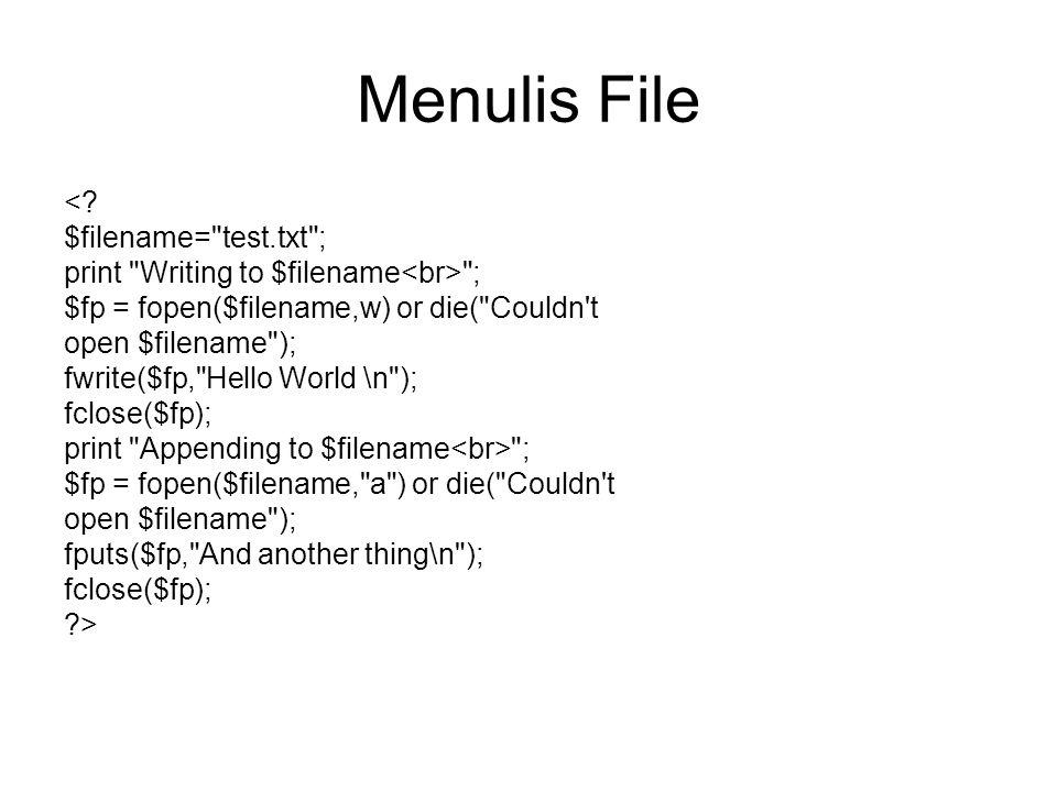 Menulis File <.