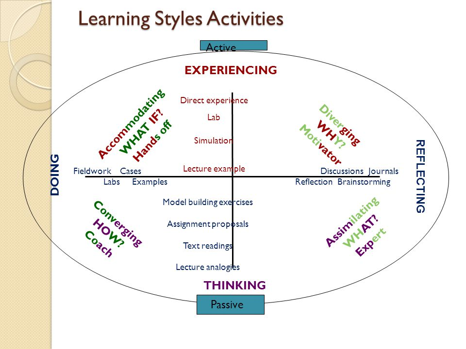 Active Learning Styles Activities REFLECTING THINKING DOING EXPERIENCING Direct experience Lab Simulation Lecture example Passive Discussions Journals Reflection Brainstorming Model building exercises Assignment proposals Text readings Lecture analogies Fieldwork Cases Labs Examples Converging HOW.