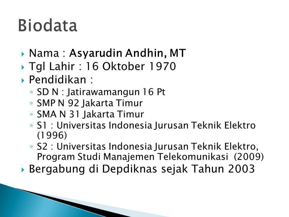  Nama : Asyarudin Andhin, MT  Tgl Lahir : 16 Oktober 1970  Pendidikan : ◦ SD N : Jatirawamangun 16 Pt ◦ SMP N 92 Jakarta Timur ◦ SMA N 31 Jakarta T