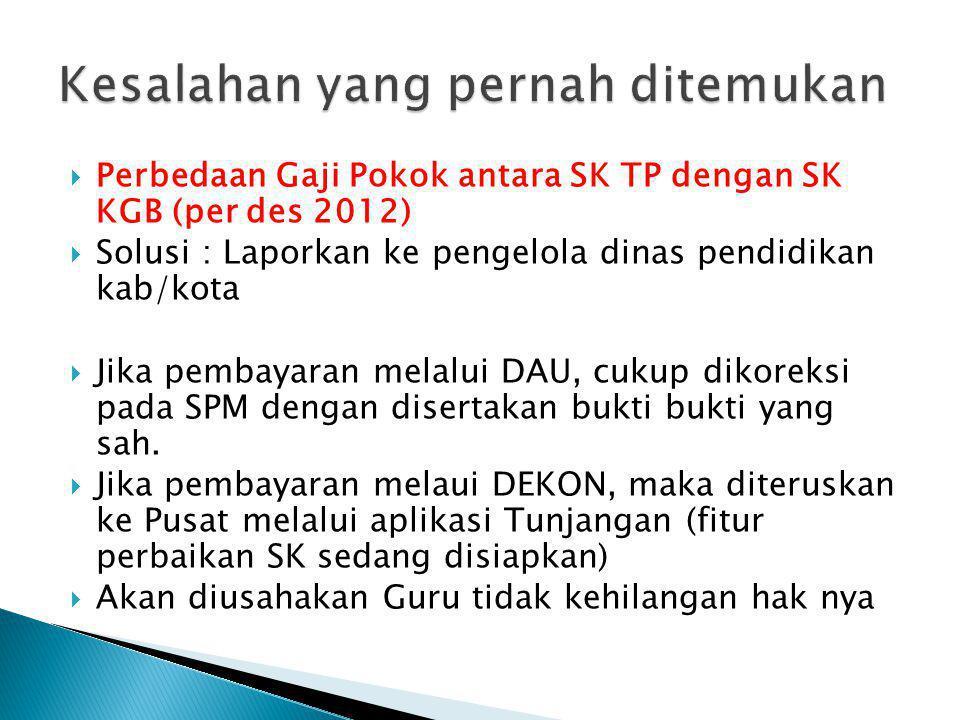  Perbedaan Gaji Pokok antara SK TP dengan SK KGB (per des 2012)  Solusi : Laporkan ke pengelola dinas pendidikan kab/kota  Jika pembayaran melalui