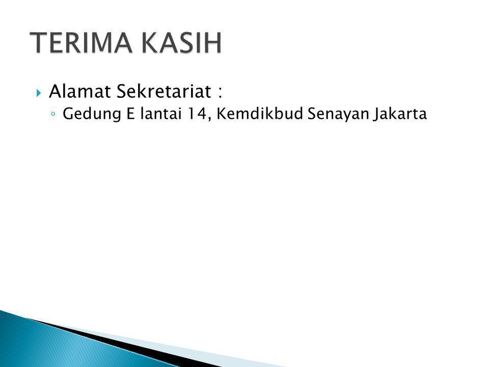  Alamat Sekretariat : ◦ Gedung E lantai 14, Kemdikbud Senayan Jakarta