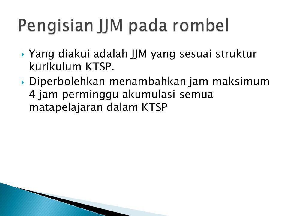  Yang diakui adalah JJM yang sesuai struktur kurikulum KTSP.  Diperbolehkan menambahkan jam maksimum 4 jam perminggu akumulasi semua matapelajaran d
