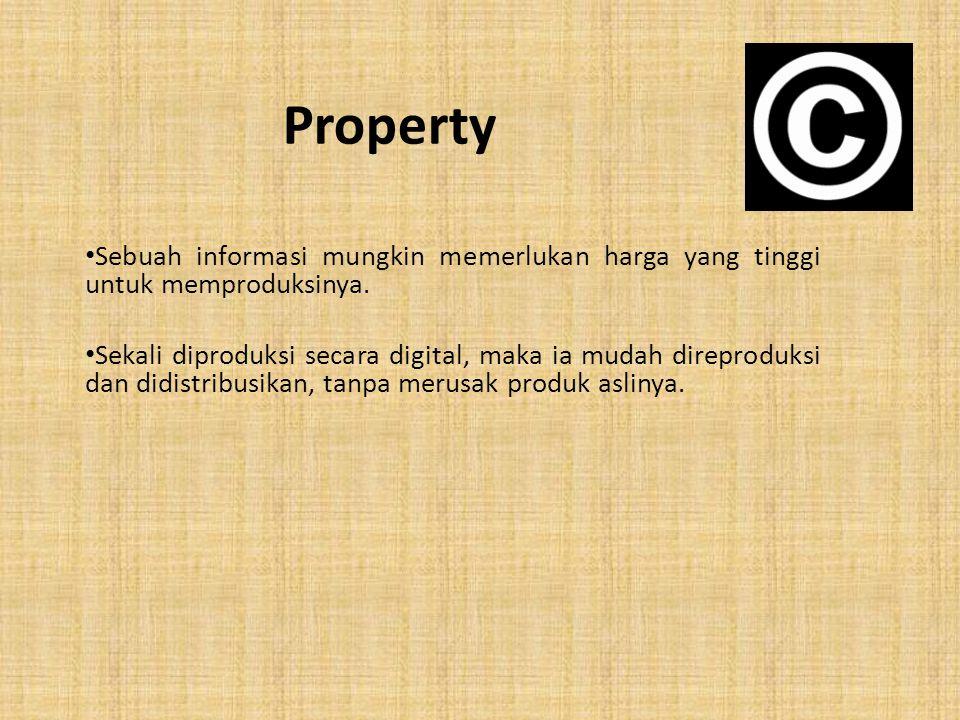Property Sebuah informasi mungkin memerlukan harga yang tinggi untuk memproduksinya.