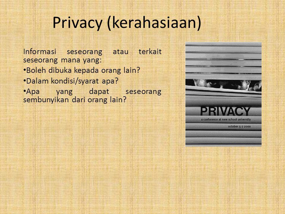 Dua Pengganggu Privacy 1.Perkembangan TI Meningkatkan komunikasi, komputasi dan pengawasan 2.