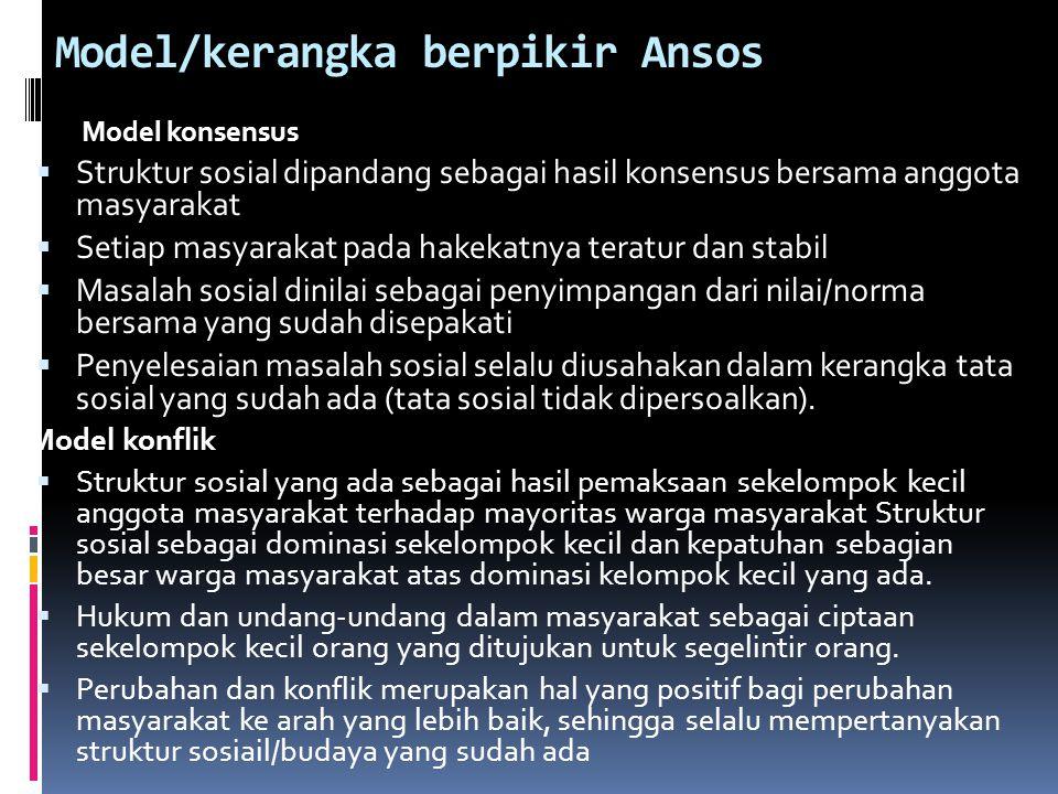 Model/kerangka berpikir Ansos Model konsensus  Struktur sosial dipandang sebagai hasil konsensus bersama anggota masyarakat  Setiap masyarakat pada