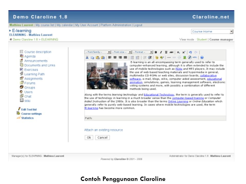 Contoh Penggunaan Claroline