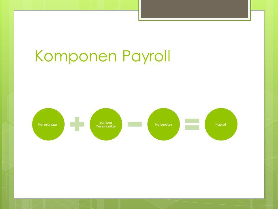 Komponen Payroll Perorangan Sumber Penghasilan PotonganPayroll