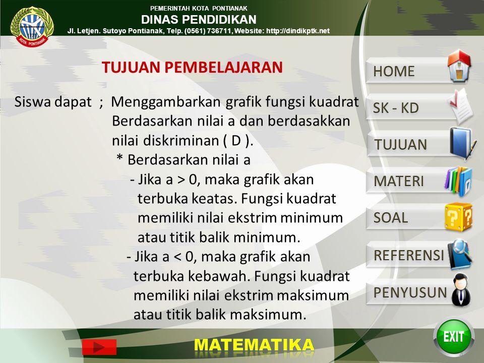 PEMERINTAH KOTA PONTIANAK DINAS PENDIDIKAN Jl. Letjen. Sutoyo Pontianak, Telp. (0561) 736711, Website: http://dindikptk.net 8. Memecahkan masalah yang