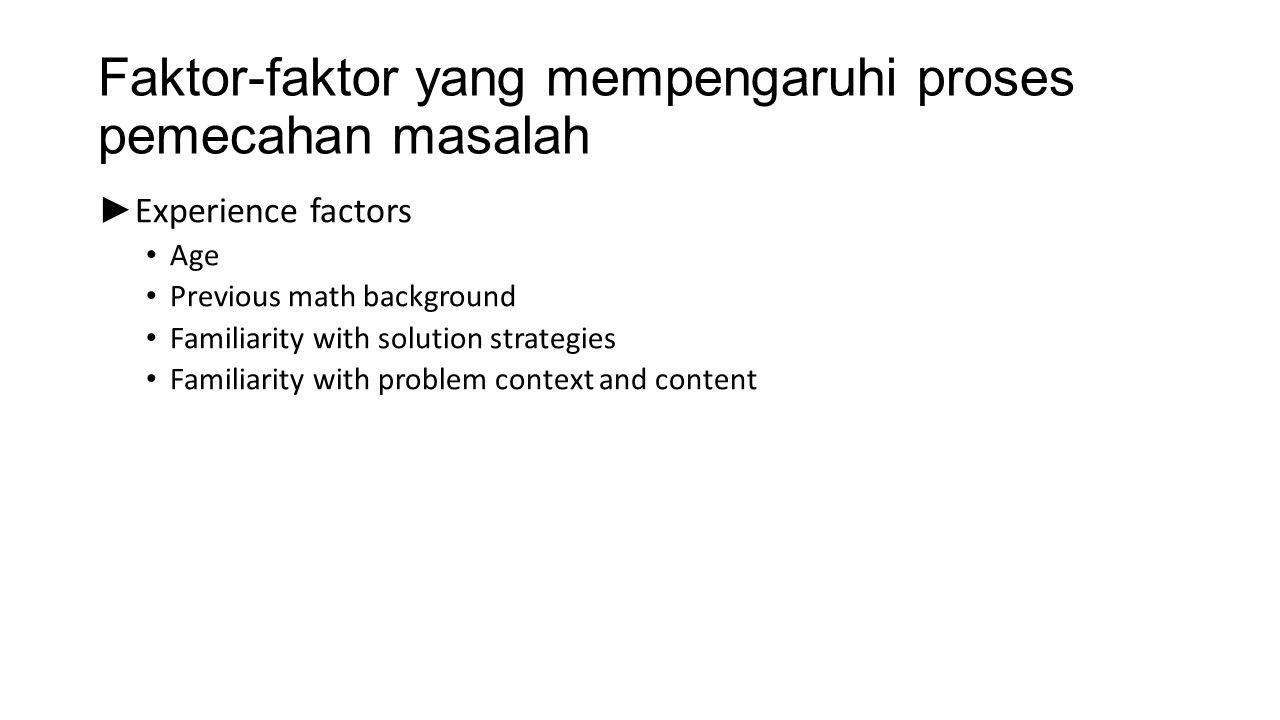 Faktor-faktor yang mempengaruhi proses pemecahan masalah ► Experience factors Age Previous math background Familiarity with solution strategies Famili