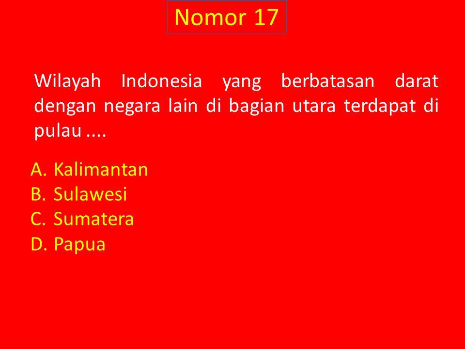 Nomor 17 Wilayah Indonesia yang berbatasan darat dengan negara lain di bagian utara terdapat di pulau.... A.Kalimantan B.Sulawesi C.Sumatera D.Papua