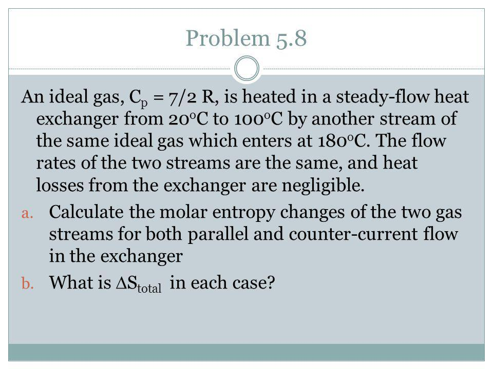 Problem 5.8 An ideal gas, C p = 7/2 R, is heated in a steady-flow heat exchanger from 20 o C to 100 o C by another stream of the same ideal gas which