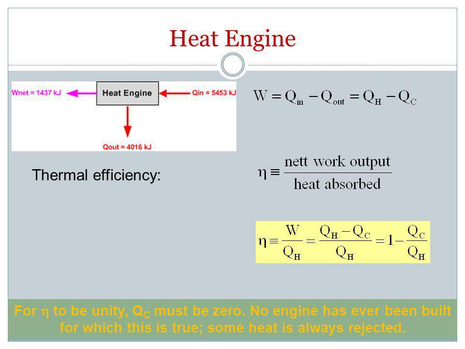 Carnot Cycle Suatu mesin Carnot menyerap panas sebesar 400 kJ dari sumber panas pada 525 oC dan melepas panas ke penerima panas pada 50 oC.