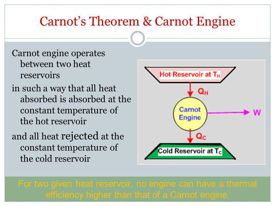 Carnot's Theorem & Carnot Engine Carnot engine operates between two heat reservoirs in such a way that all heat absorbed is absorbed at the constant t