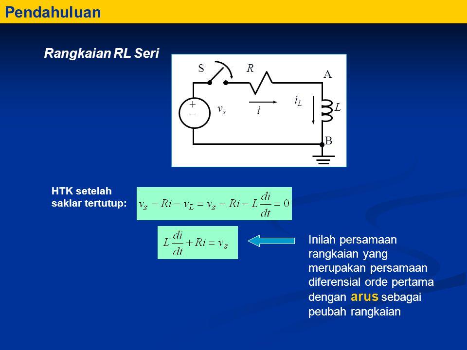 Inilah persamaan rangkaian yang merupakan persamaan diferensial orde pertama dengan arus sebagai peubah rangkaian Pendahuluan HTK setelah saklar tertutup: Rangkaian RL Seri L R A B i iLiL ++ vsvs S