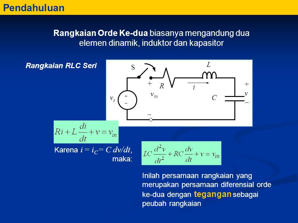 Karena i = i C = C dv/dt, maka: Inilah persamaan rangkaian yang merupakan persamaan diferensial orde ke-dua dengan tegangan sebagai peubah rangkaian Pendahuluan Rangkaian Orde Ke-dua biasanya mengandung dua elemen dinamik, induktor dan kapasitor Rangkaian RLC Seri R i C +v+v L vsvs ++ S + v in 