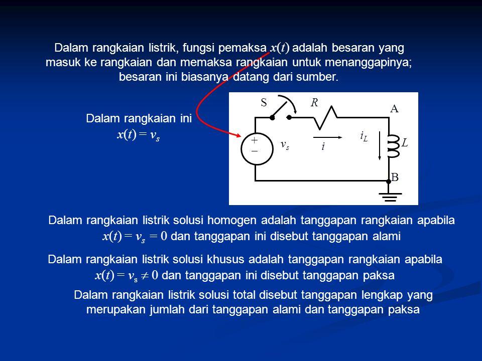 Dalam rangkaian ini x(t) = v s Dalam rangkaian listrik solusi homogen adalah tanggapan rangkaian apabila x(t) = v s = 0 dan tanggapan ini disebut tanggapan alami Dalam rangkaian listrik solusi khusus adalah tanggapan rangkaian apabila x(t) = v s  0 dan tanggapan ini disebut tanggapan paksa Dalam rangkaian listrik solusi total disebut tanggapan lengkap yang merupakan jumlah dari tanggapan alami dan tanggapan paksa L R A B i iLiL ++ vsvs S Dalam rangkaian listrik, fungsi pemaksa x(t) adalah besaran yang masuk ke rangkaian dan memaksa rangkaian untuk menanggapinya; besaran ini biasanya datang dari sumber.