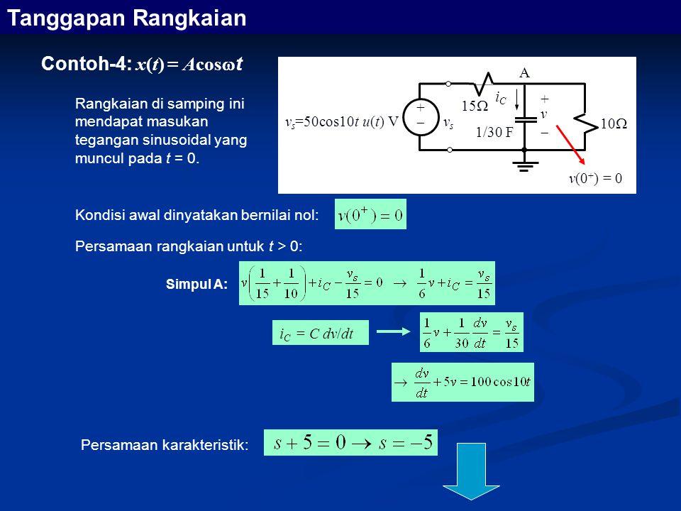 Contoh-4: x(t) = Acos  t i C = C dv/dt Simpul A: Tanggapan Rangkaian Rangkaian di samping ini mendapat masukan tegangan sinusoidal yang muncul pada t = 0.
