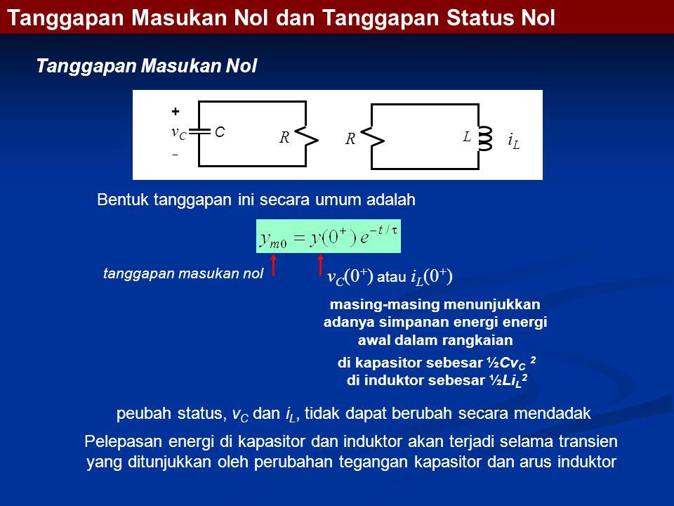 Bentuk tanggapan ini secara umum adalah tanggapan masukan nol v C (0 + ) atau i L (0 + ) peubah status, v C dan i L, tidak dapat berubah secara mendadak Pelepasan energi di kapasitor dan induktor akan terjadi selama transien yang ditunjukkan oleh perubahan tegangan kapasitor dan arus induktor di kapasitor sebesar ½Cv C 2 di induktor sebesar ½Li L 2 masing-masing menunjukkan adanya simpanan energi energi awal dalam rangkaian Tanggapan Masukan Nol dan Tanggapan Status Nol Tanggapan Masukan Nol R C L R +vC+vC iLiL
