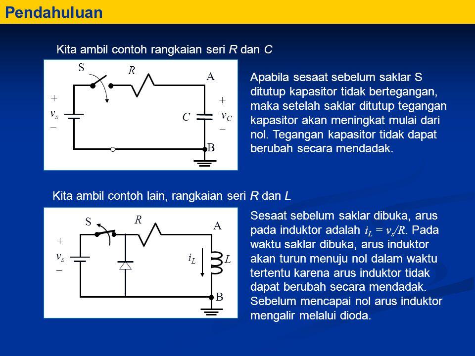 Pendahuluan Kita ambil contoh rangkaian seri R dan C Kita ambil contoh lain, rangkaian seri R dan L Apabila sesaat sebelum saklar S ditutup kapasitor tidak bertegangan, maka setelah saklar ditutup tegangan kapasitor akan meningkat mulai dari nol.