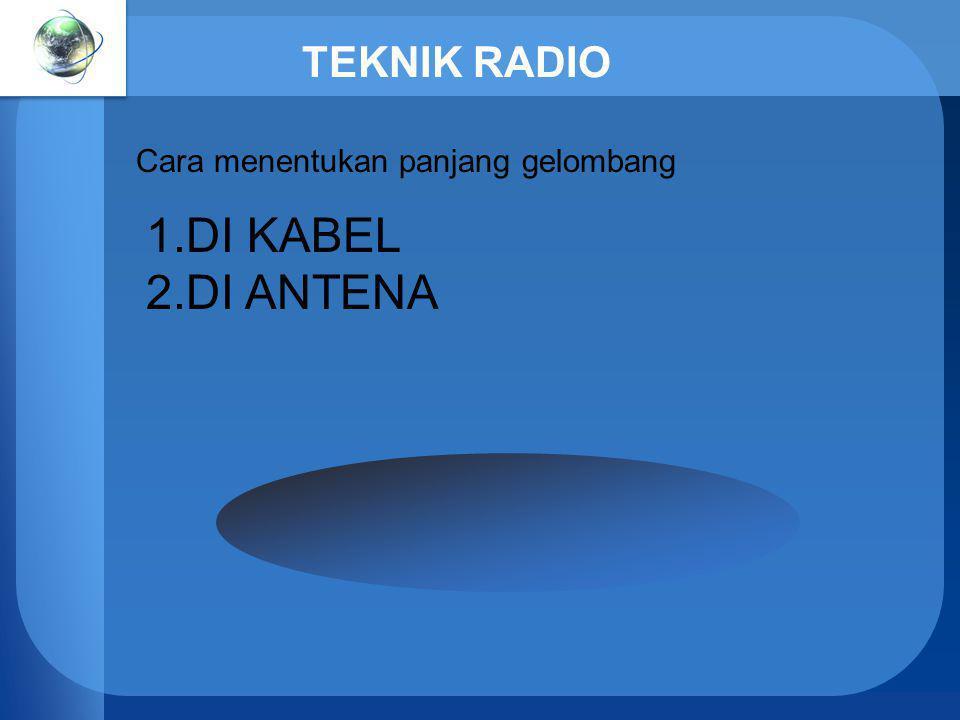 TEKNIK RADIO Cara menentukan panjang gelombang 1.DI KABEL 2.DI ANTENA