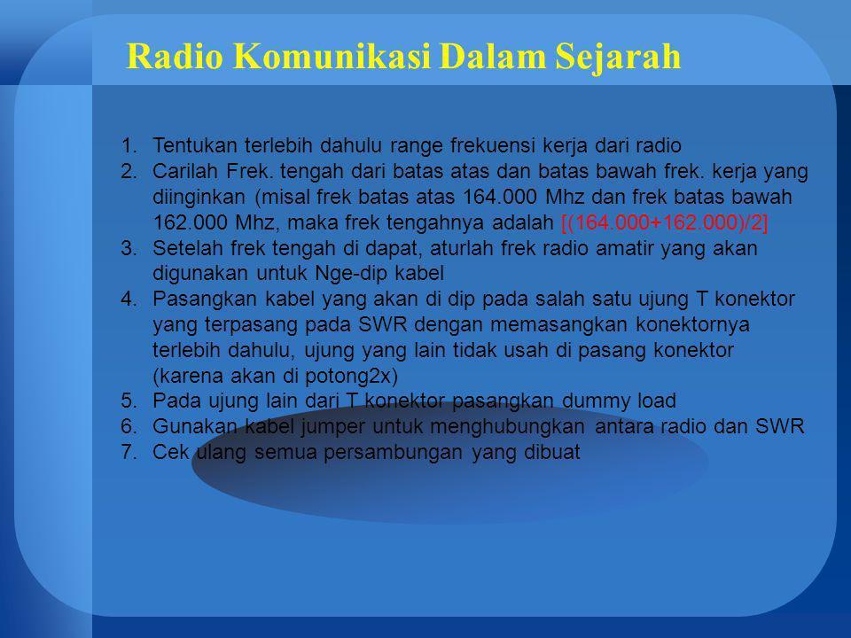 Radio Komunikasi Dalam Sejarah 1.Tentukan terlebih dahulu range frekuensi kerja dari radio 2.Carilah Frek. tengah dari batas atas dan batas bawah frek