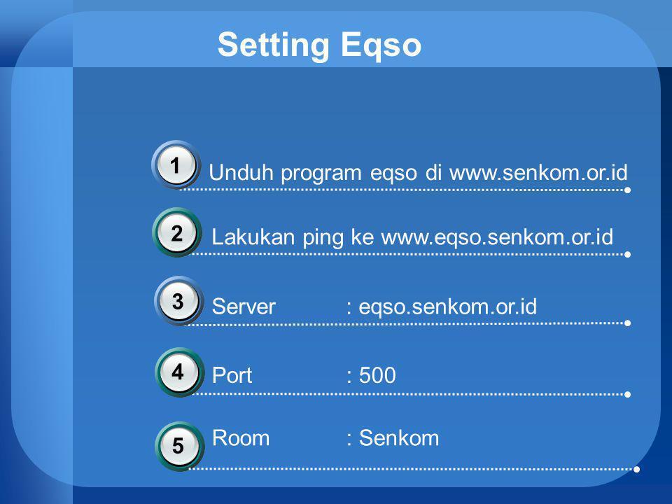 Setting Eqso Unduh program eqso di www.senkom.or.id 1 Lakukan ping ke www.eqso.senkom.or.id Server : eqso.senkom.or.id Port : 500 2 3 45 Room: Senkom