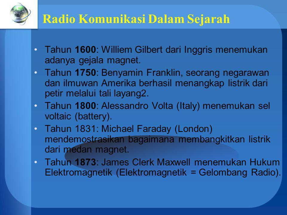 Radio Komunikasi Dalam Sejarah Tahun 1600: Williem Gilbert dari Inggris menemukan adanya gejala magnet. Tahun 1750: Benyamin Franklin, seorang negaraw