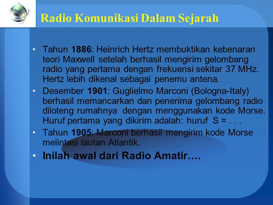 Radio Komunikasi Dalam Sejarah Tahun 1886: Heinrich Hertz membuktikan kebenaran teori Maxwell setelah berhasil mengirim gelombang radio yang pertama d