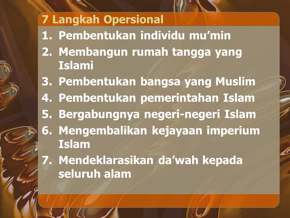 7 Langkah Opersional 1.Pembentukan individu mu'min 2.Membangun rumah tangga yang Islami 3.Pembentukan bangsa yang Muslim 4.Pembentukan pemerintahan Is