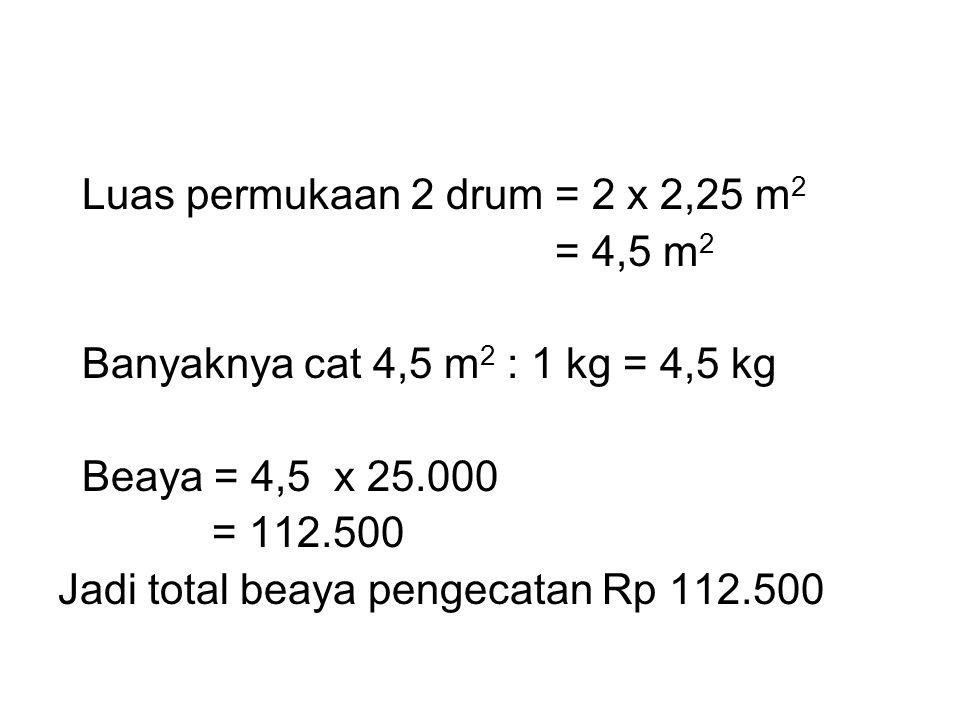 Luas permukaan 2 drum = 2 x 2,25 m 2 = 4,5 m 2 Banyaknya cat 4,5 m 2 : 1 kg = 4,5 kg Beaya = 4,5 x 25.000 = 112.500 Jadi total beaya pengecatan Rp 112