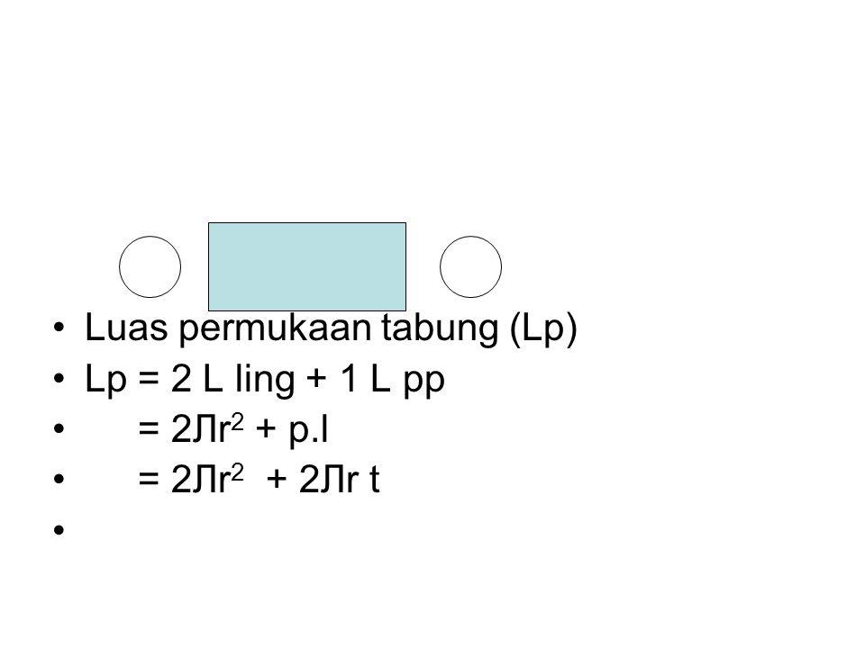 Luas permukaan tabung (Lp) Lp = 2 L ling + 1 L pp = 2Лr 2 + p.l = 2Лr 2 + 2Лr t