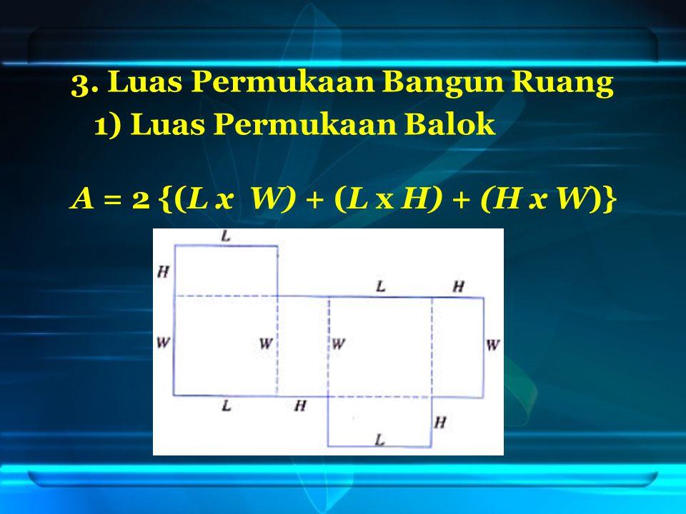 3. Luas Permukaan Bangun Ruang 1) Luas Permukaan Balok A = 2 {(L x W) + (L x H) + (H x W)}