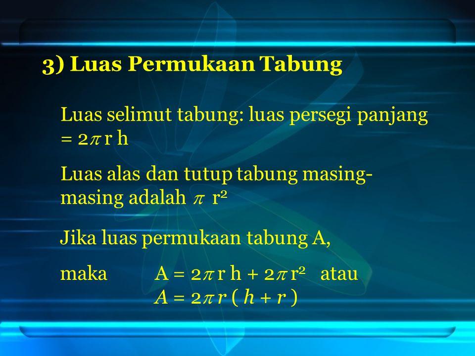 3) Luas Permukaan Tabung Luas selimut tabung: luas persegi panjang = 2  r h Luas alas dan tutup tabung masing- masing adalah  r 2 Jika luas permukaan tabung A, makaA = 2  r h + 2  r 2 atau A = 2  r ( h + r )