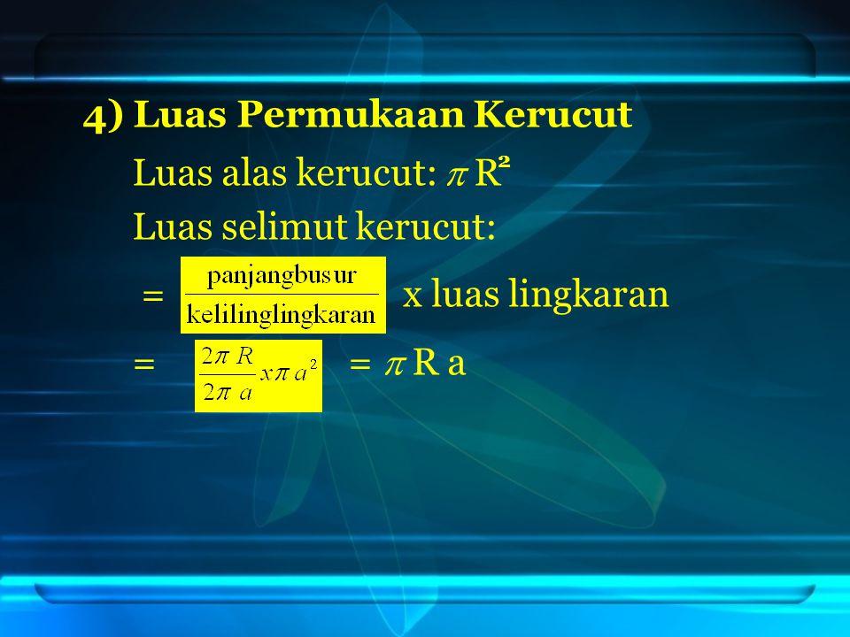 4) Luas Permukaan Kerucut Luas alas kerucut:  R Luas selimut kerucut: = x luas lingkaran = =  R a 2