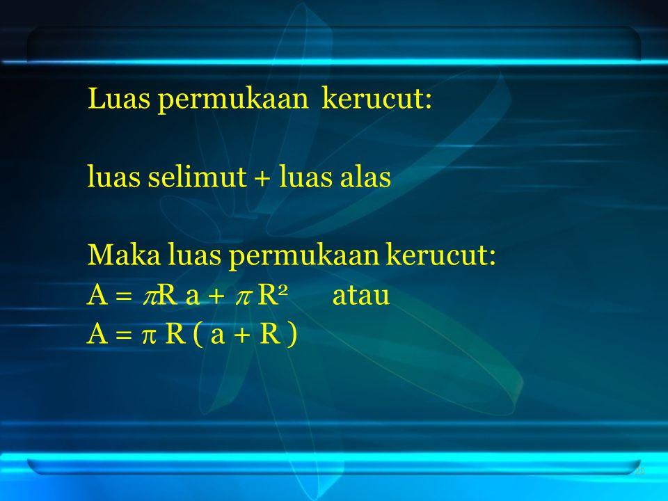 Luas permukaan kerucut: luas selimut + luas alas Maka luas permukaan kerucut: A =  R a +  R 2 atau A =  R ( a + R ) 20