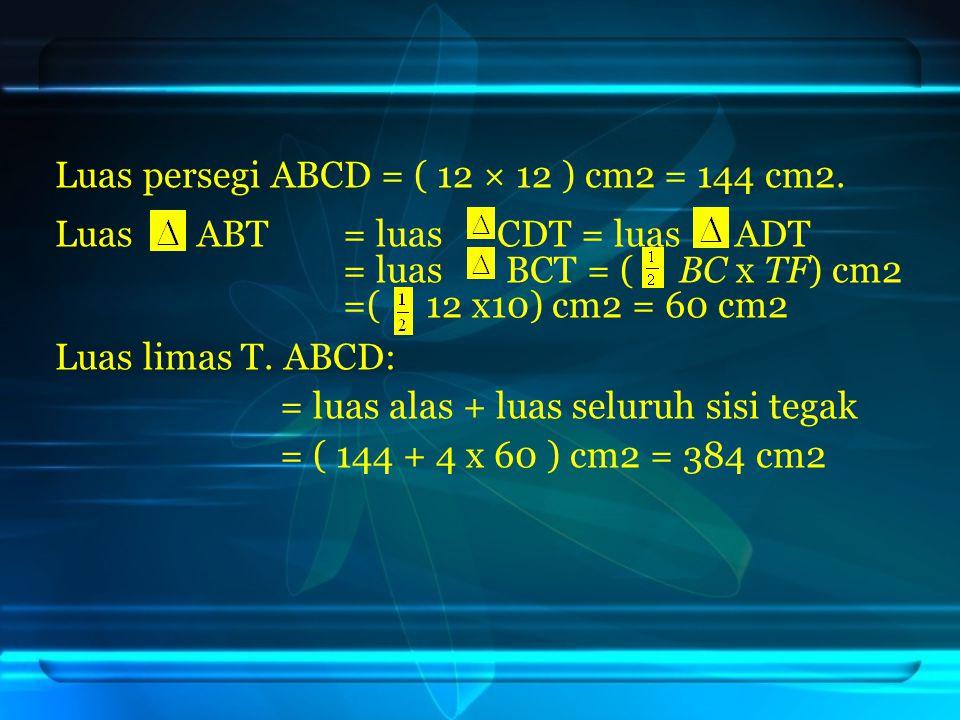 Luas persegi ABCD = ( 12 × 12 ) cm2 = 144 cm2.
