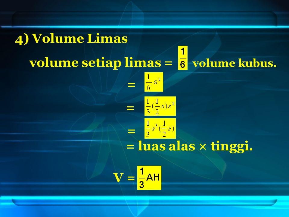 4) Volume Limas volume setiap limas = volume kubus. = = = = luas alas × tinggi. V =