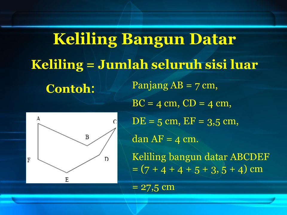 Keliling Bangun Datar Keliling = Jumlah seluruh sisi luar Panjang AB = 7 cm, BC = 4 cm, CD = 4 cm, DE = 5 cm, EF = 3,5 cm, dan AF = 4 cm.