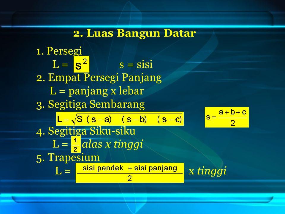 2.Luas Bangun Datar 1. Persegi L = s = sisi 2. Empat Persegi Panjang L = panjang x lebar 3.