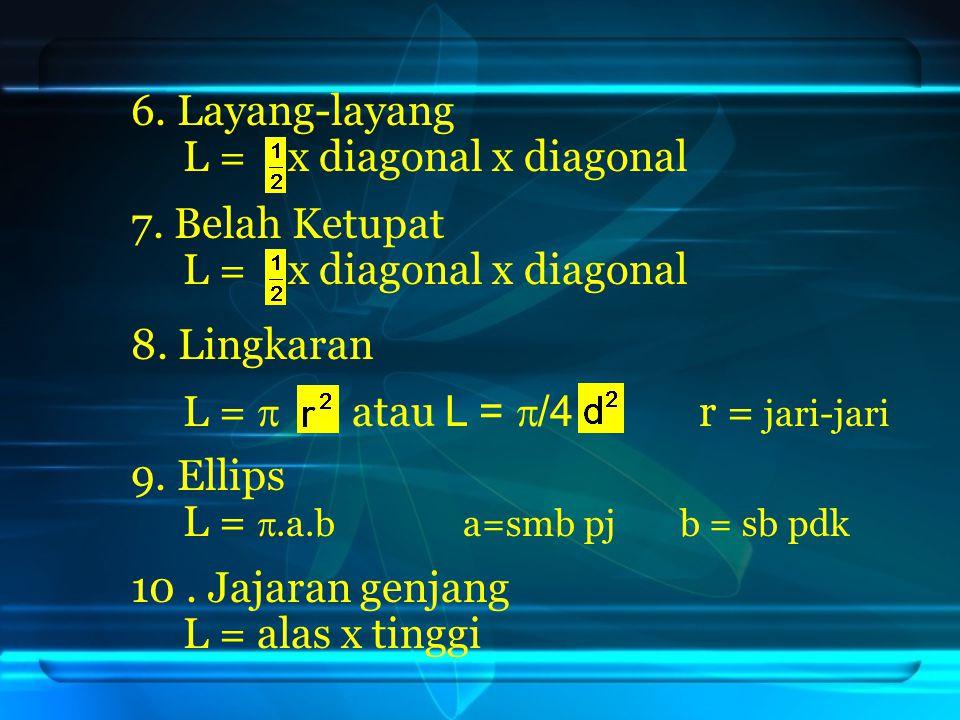 6. Layang-layang L = x diagonal x diagonal 7. Belah Ketupat L = x diagonal x diagonal 8.
