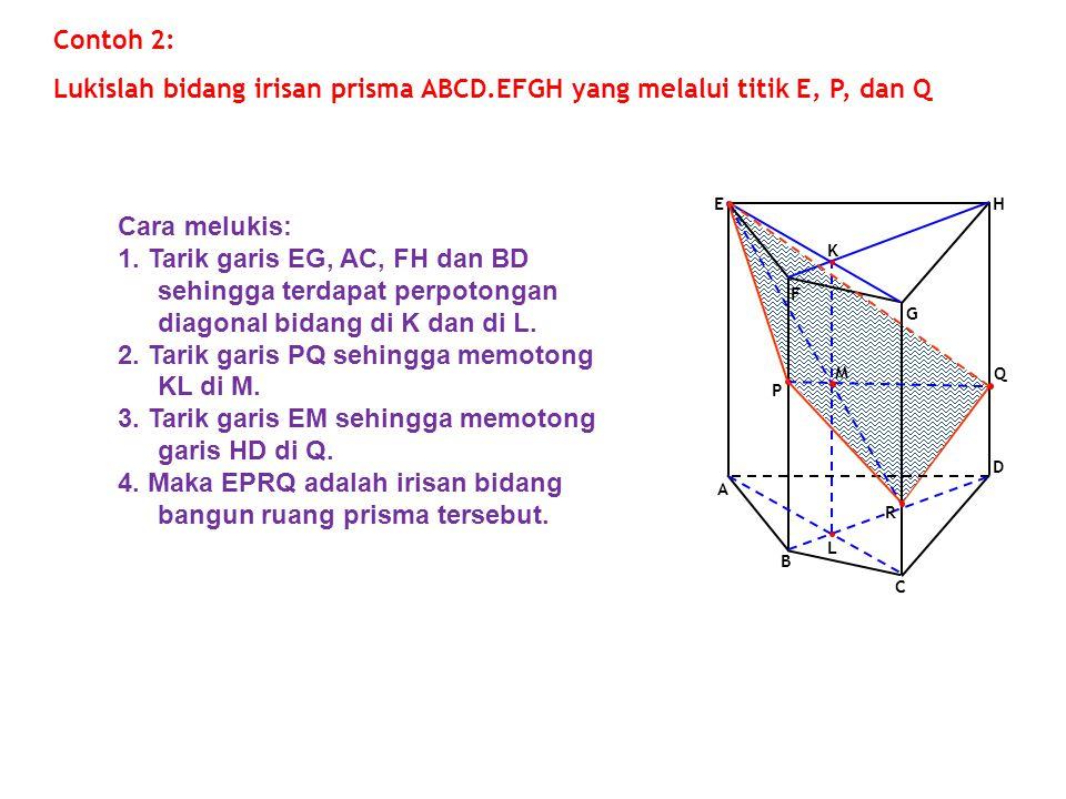 F G A E D B C H Q P Contoh 2: Lukislah bidang irisan prisma ABCD.EFGH yang melalui titik E, P, dan Q L K M R Cara melukis: 1. Tarik garis EG, AC, FH d