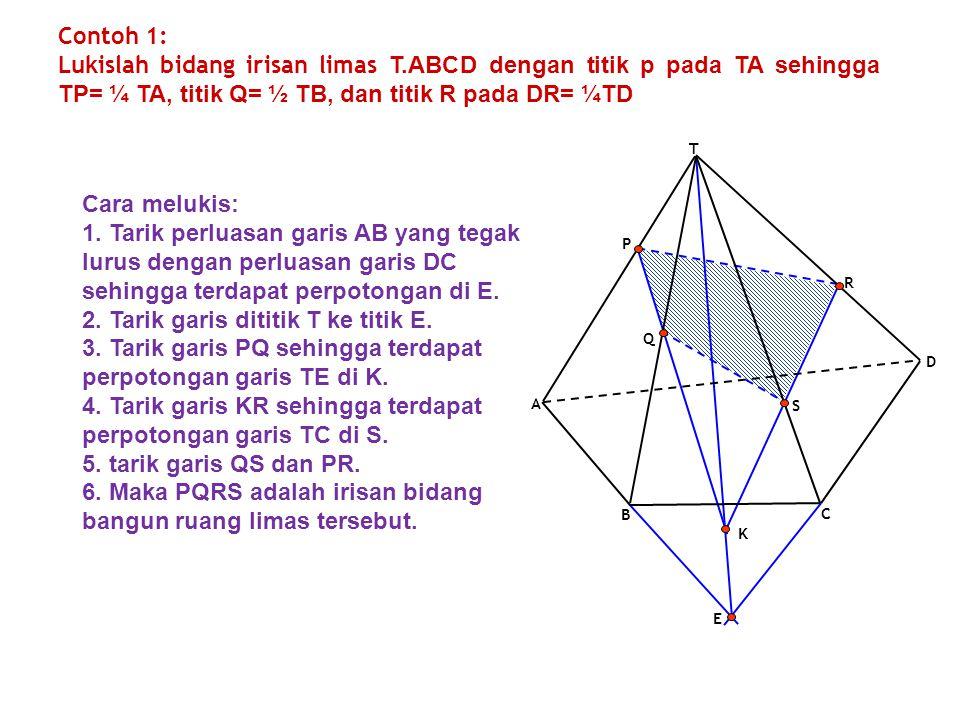 Contoh 1: Lukislah bidang irisan limas T.ABCD dengan titik p pada TA sehingga TP= ¼ TA, titik Q= ½ TB, dan titik R pada DR= ¼TD E K B C D A T P Q R S