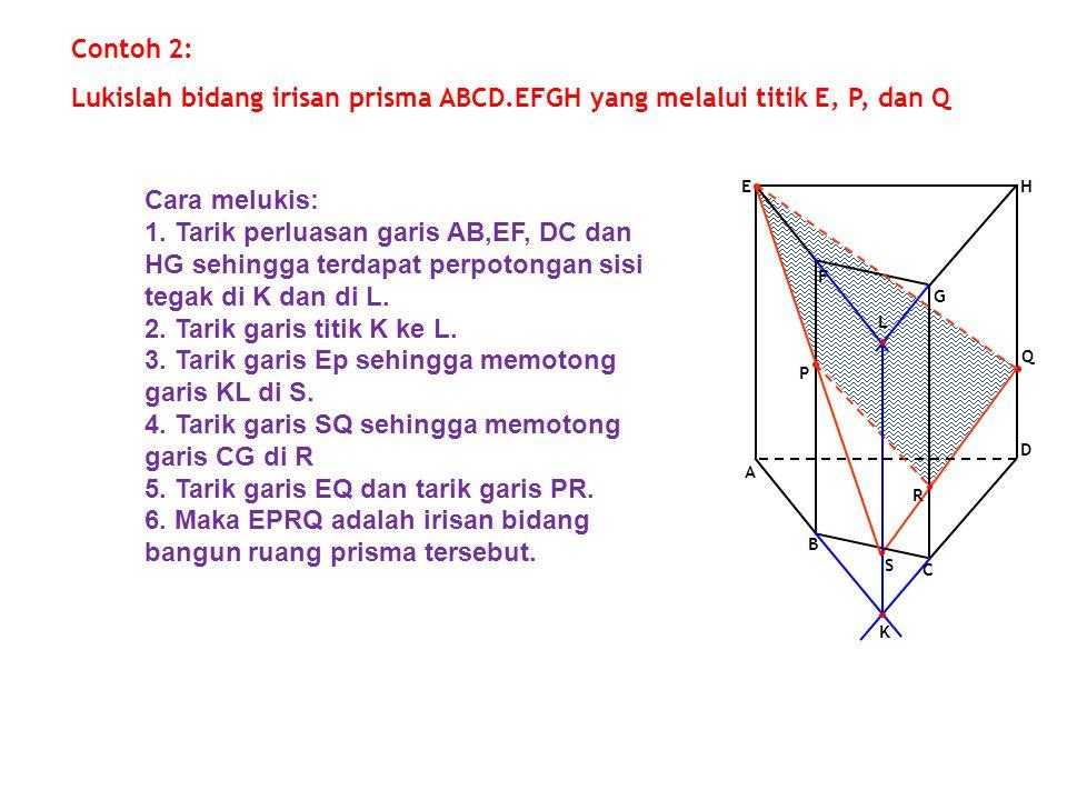 F G A E D B C H Q P Contoh 2: Lukislah bidang irisan prisma ABCD.EFGH yang melalui titik E, P, dan Q R K L S Cara melukis: 1. Tarik perluasan garis AB